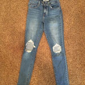 Levi's 721 distressed jeans
